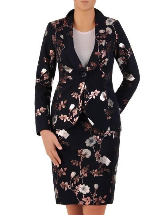 Kolekcja 28358, granatowa sukienka, żakiet i spódnica w połyskujące kwiaty