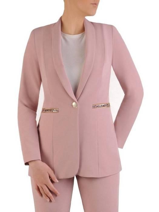 Kolekcja 28515 - pudrowo różowy żakiet i spodnie cygaretki