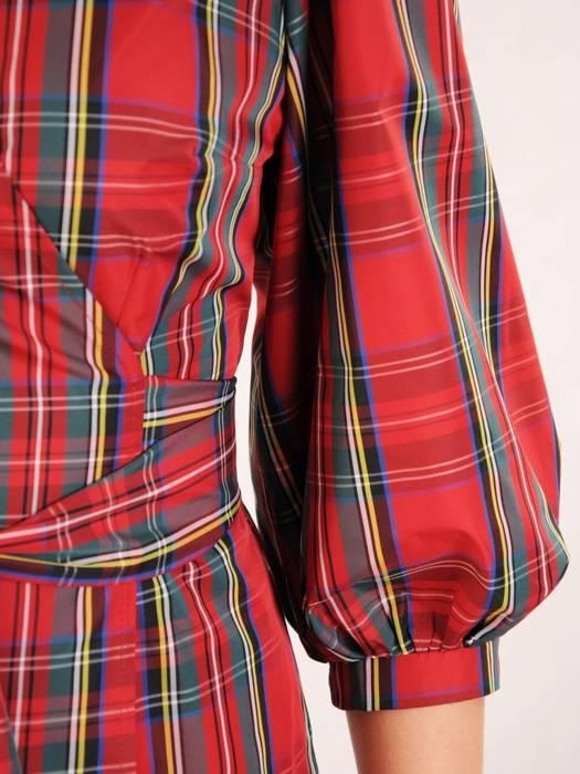 Kopertowa bluzka w kratę z bufiastymi rękawami 30339