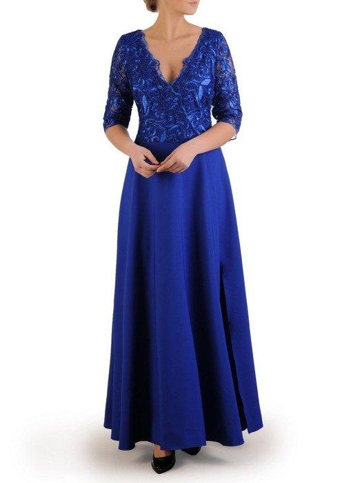 Kopertowa sukienka maxi, kreacja z koronkowym topem 23103