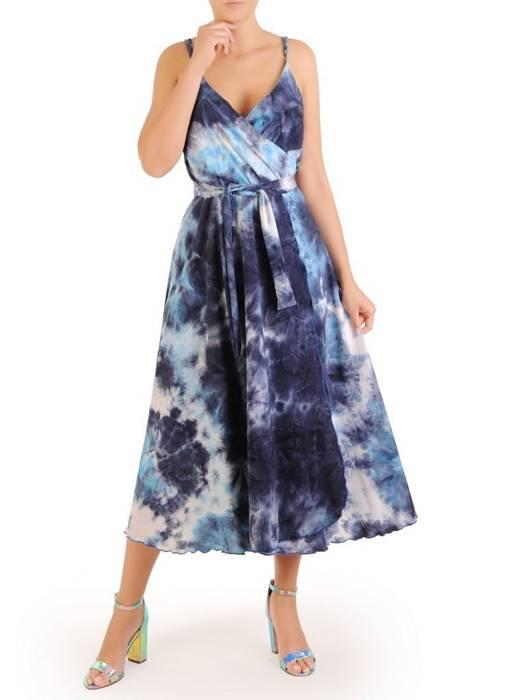 Kopertowa sukienka midi, kreacja z regulowanymi ramiączkami 30276