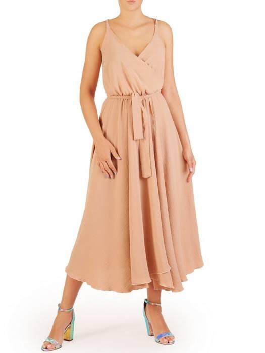 Kopertowa sukienka midi, kreacja z regulowanymi ramiączkami 30278