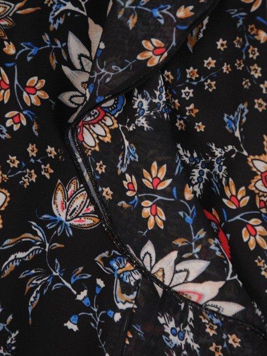 Kopertowa sukienka z falbankami na rękawach 25409