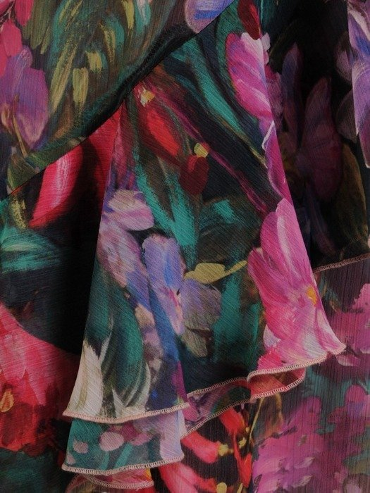 Kopertowa sukienka z falbankami na rękawach 25482