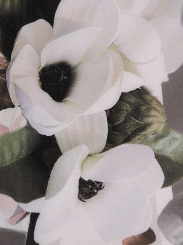 Kopertowa sukienka z modną stójką 16719, elegancka kreacja w kwiaty.