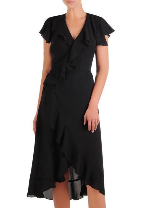 Kopertowa sukienka z modnymi falbanami, wizytowa kreacja na sezon letni 21538