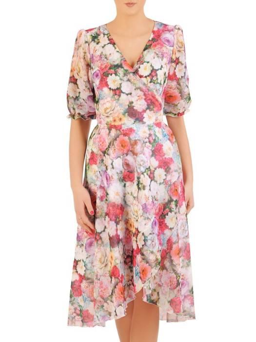 Kopertowa sukienka z ozdobnymi rozcięciami na rękawach 28989
