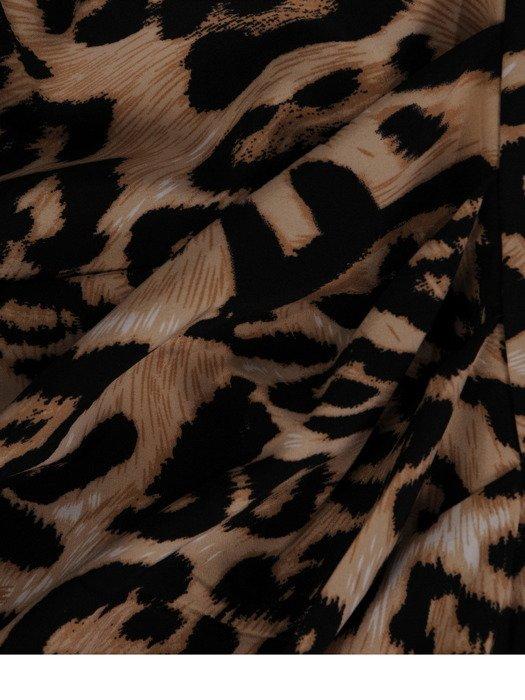Kopertowa sukienka z zakładkami, wizytowa kreacja w modny wzór 19540