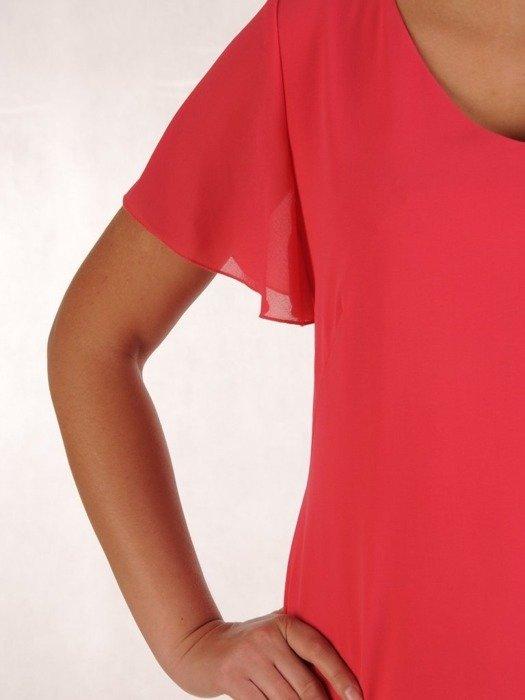 Koralowa kreacja, zwiewna sukienka z szyfonu 25981