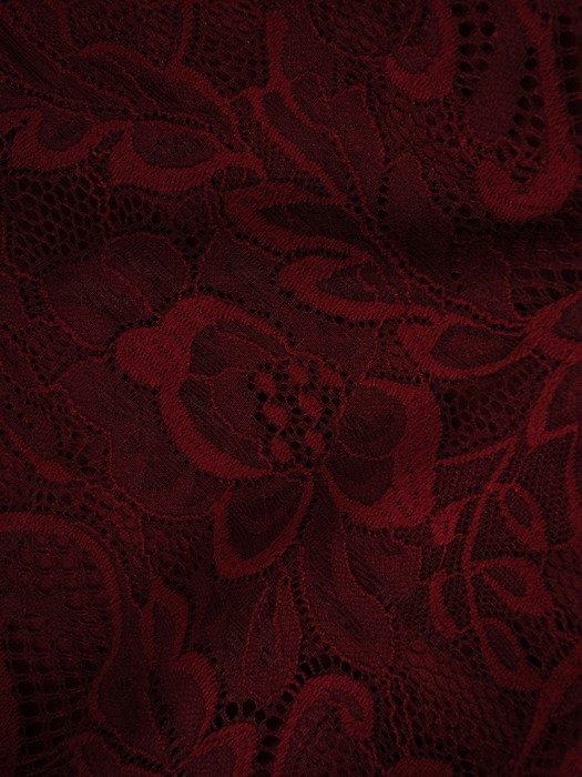 Koronkowa sukienka kopertowa, bordowa kreacja na wieczór 19389
