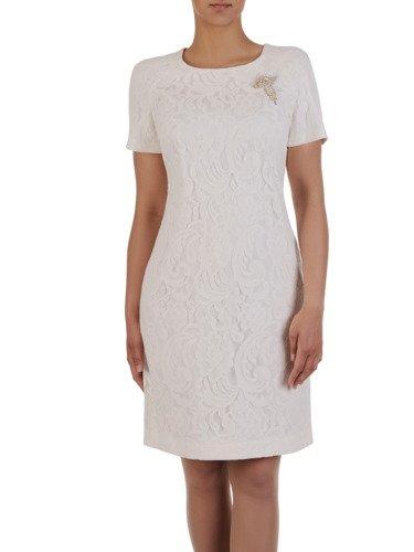 Koronkowa sukienka wizytowa Irena III, elegancka kreacja z broszką