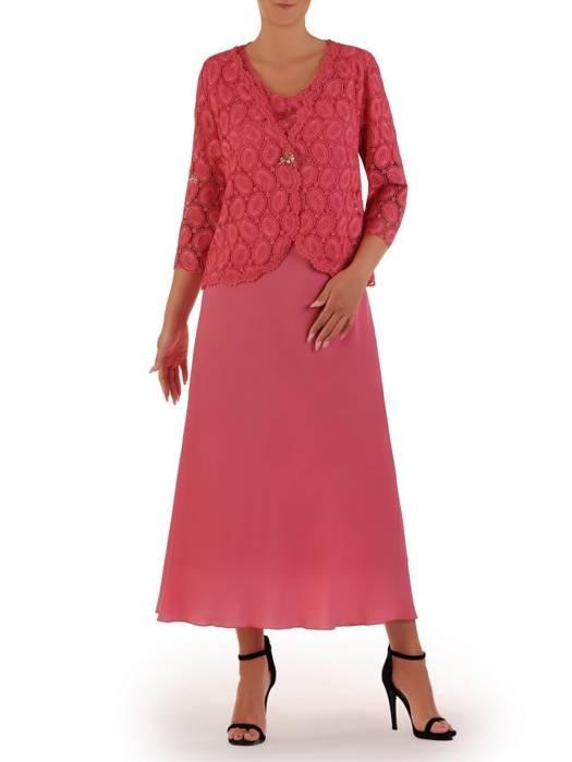 Kostium damski, elegancka sukienka z koronkowym żakietem 26445