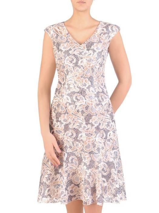 Kostium damski, koronkowa sukienka z beżowym żakietem  29326