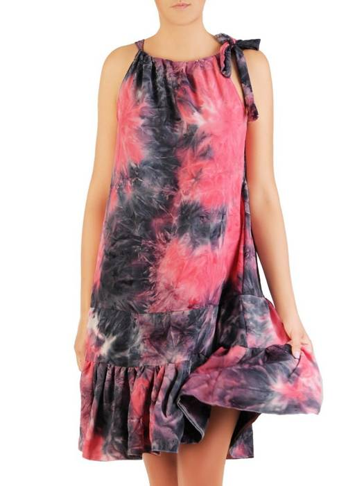 Letnia sukienka trapezowa z ozdobną falbaną 30291