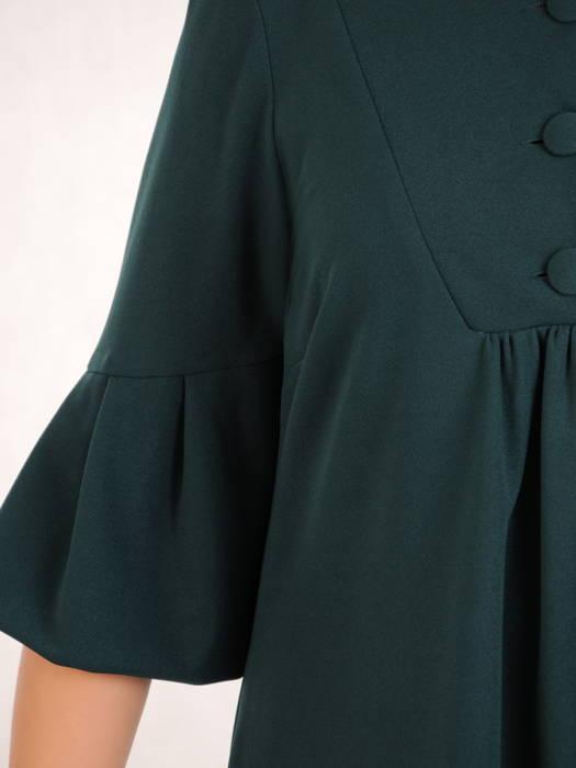Luźna, dzianinowa sukienka z ozdobnym dekoltem i rękawami 30967