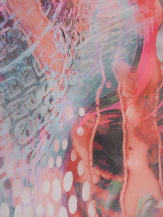 Luźna sukienka w kolorowe kwiaty, szyfonowa kreacja z modnymi rękawami 21719