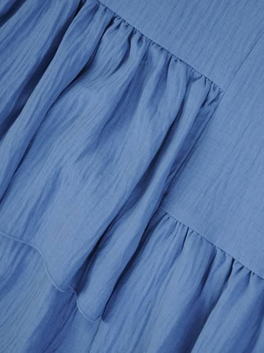 Luźna sukienka z bawełny, kreacja z falbanami 30369