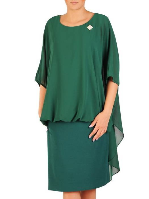 Luźna sukienka z broszką, modna kreacja z szyfonową narzutką 30477