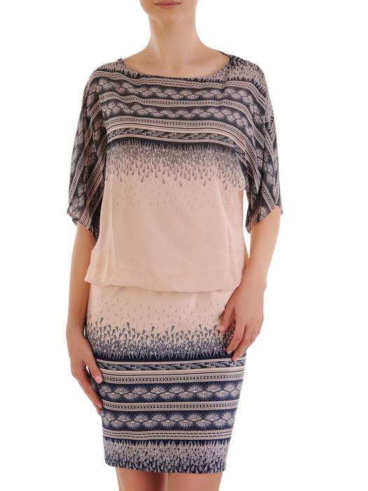 Luźna sukienka z ciekawym nadrukiem, modna kreacja wykończona szyfonem 21114
