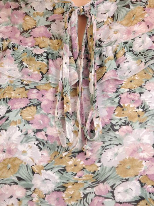 Luźna sukienka z ozdobnymi falbankami i wiązaną stójką 30818
