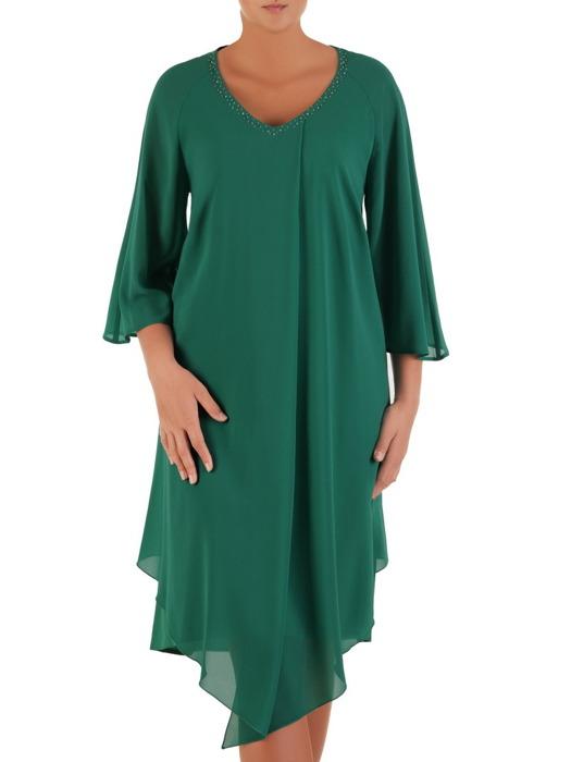 Luźna sukienka z szyfonu, zielona kreacja zdobiona przy dekolcie 22123.