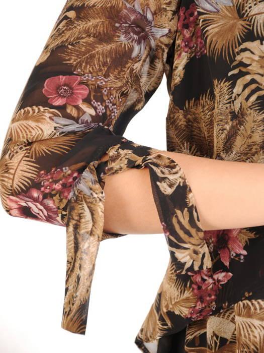 Luźna sukienka z szyfonu, zwiewna kreacja w kwiaty 30719