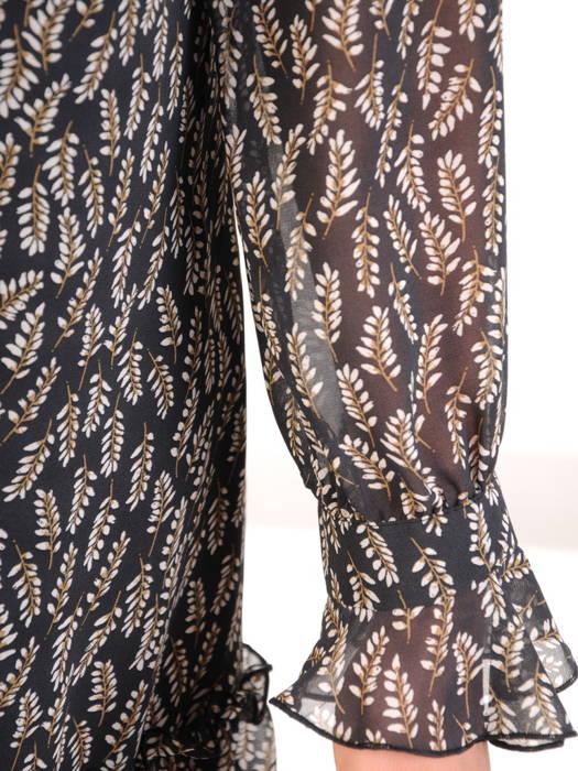 Luźna, szyfonowa sukienka z ozdobnym wiązaniem na dekolcie 31070