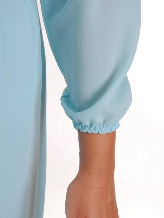 Miętowa, długa sukienka z wiązaniem w pasie 26840