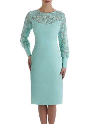 Miętowa sukienka z dekoracyjnym, koronkowym karczkiem 14857.