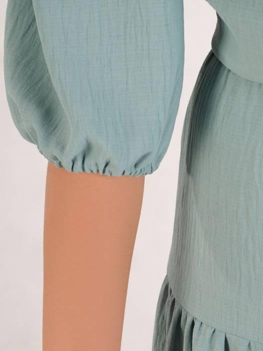 Modna sukienka midi, rozkloszowana kreacja z falbanami 28221