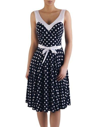 Modna sukienka na szerokich ramiączkach Filippa, letnia kreacja w groszki.