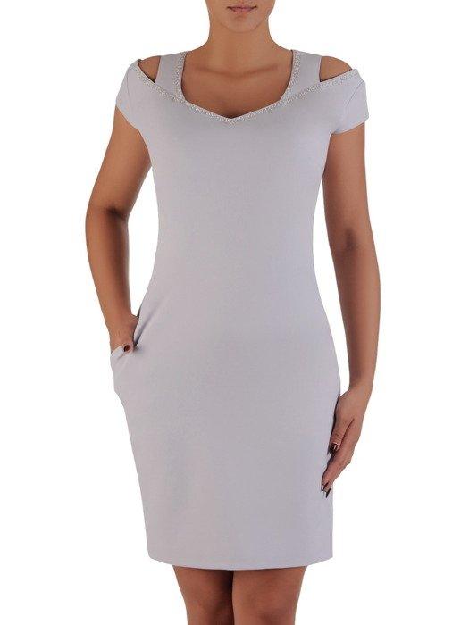 Modna sukienka z efektownym dekoltem Aldena III, popielata kreacja wizytowa