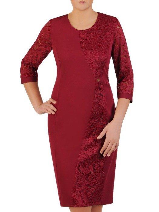 Modna sukienka z wyszczuplającą, koronkową wstawką 23888