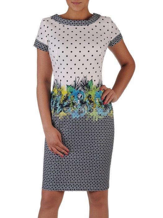 Modna sukienka z wzorzystym półgolfem 16992