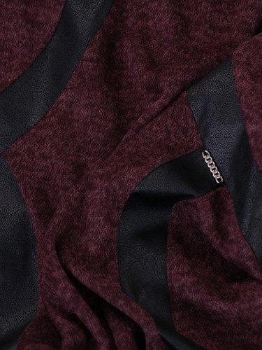 Modna sukienka ze skórzanymi lamówkami 14696, atrakcyjna kreacja wyszczuplająca.