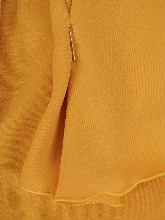 Musztardowa bluzka z ozdobnymi rękawami 25894