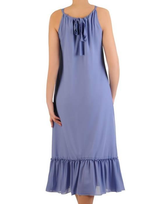 Niebieska sukienka wiązana na plecach, szyfonowa kreacja 29294