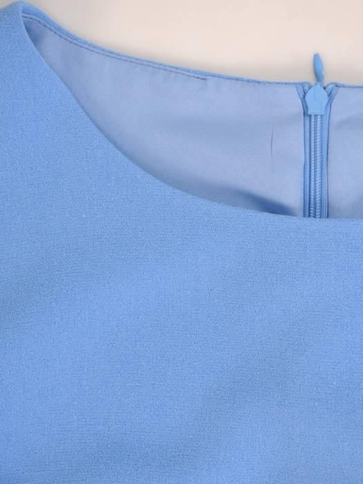 Niebieska sukienka z szyfonowymi rękawami 30034
