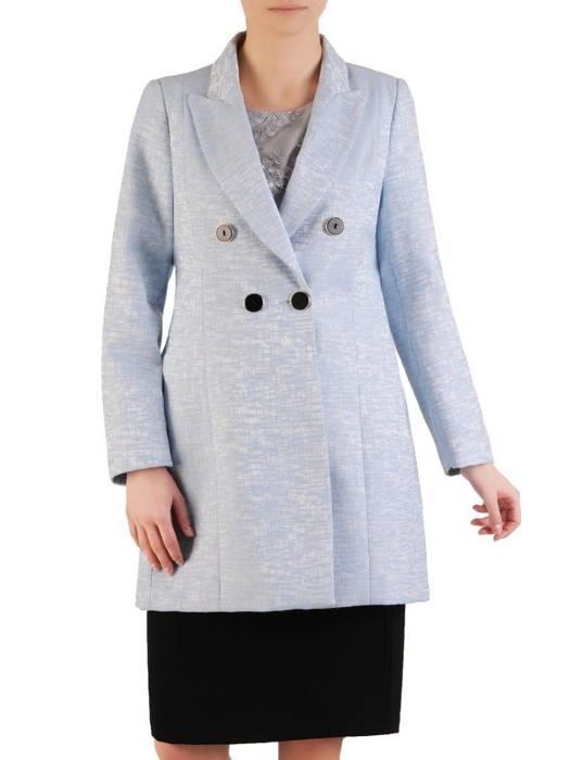 Niebieski płaszcz damski z ozdobnymi guzikami 28500