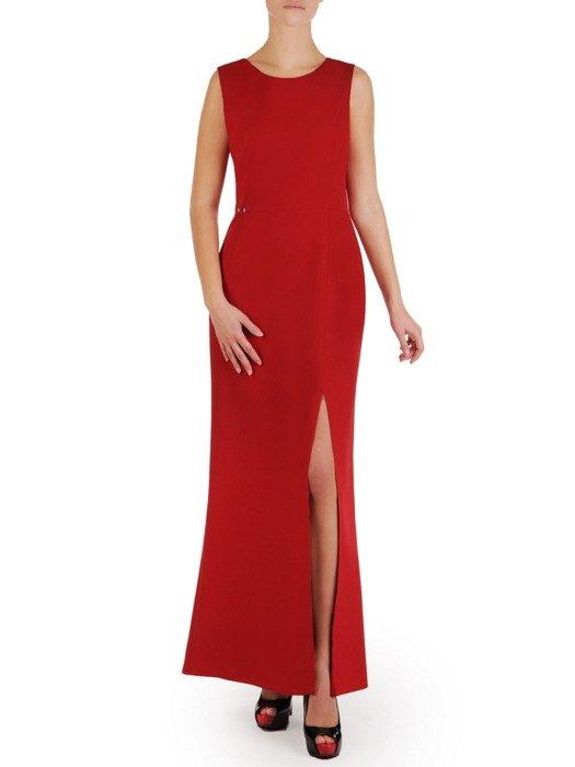 Nowoczesna, długa suknia z wysokim rozcięciem 18751
