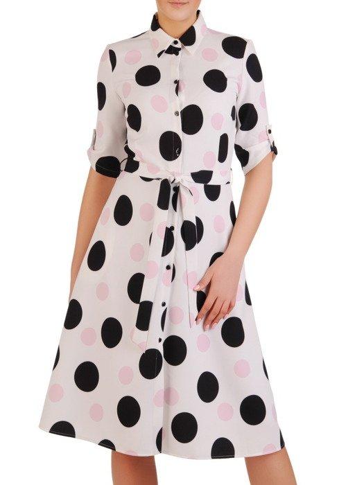Nowoczesna sukienka w duże, kontrastowe grochy 19796
