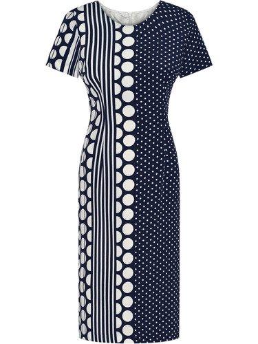 Nowoczesna sukienka w groszki Klaudia, stylowa kreacja z krótkimi rękawami.