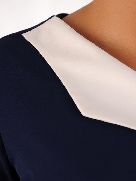 Nowoczesna sukienka z kontrastowym, asymetrycznym kołnierzem 22167