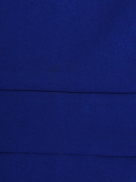 Nowoczesna sukienka z kopertowym dekoltem, chabrowa kreacja z połyskującej tkaniny 22599