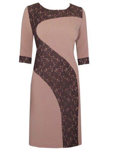 Ozdobna sukienka wizytowa Rozanna, oryginalna kreacja z koronkowym wykończeniem