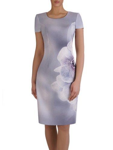 Piękna sukienka z wyszczuplającym nadrukiem 15389.