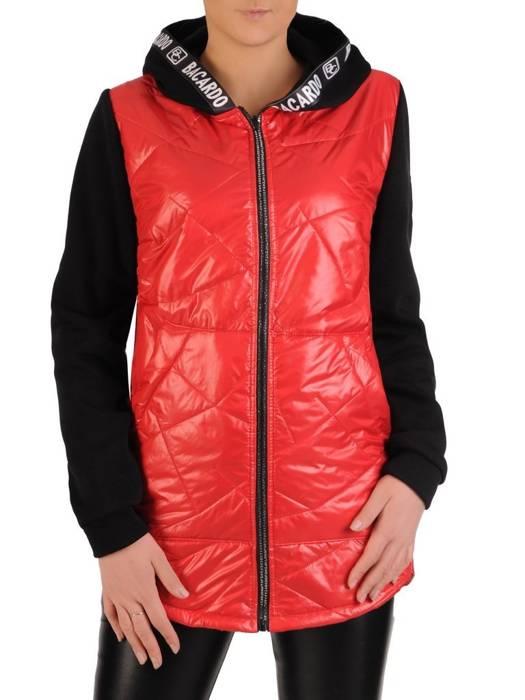 Pikowana kurtka damska na wiosnę w kolorze czerwono-czarnym 28840
