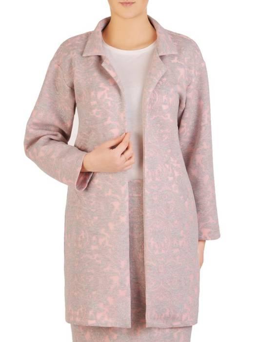 Płaszcz damski z oryginalnym kwiatowym wzorem 28316