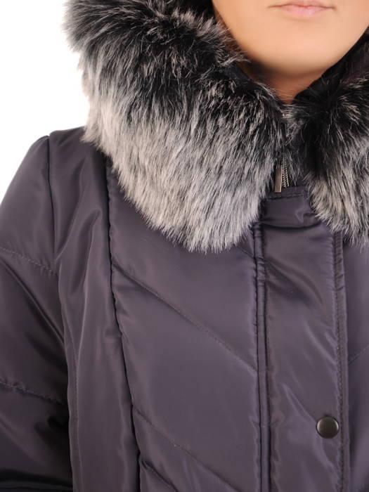 Płaszcz damski z pikowanej tkaniny z ozdobnym kołnierzem 31031
