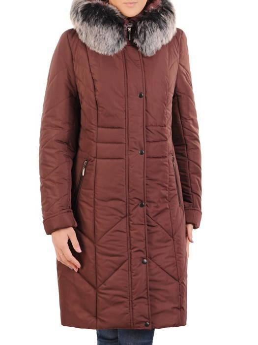 Płaszcz damski z pikowanej tkaniny z ozdobnym kołnierzem 31032